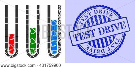 Shards Mosaic Analysis Test Tubes Icon, And Blue Round Test Drive Corroded Stamp Print With Caption