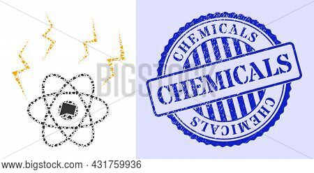 Detritus Mosaic Atomic Emission Icon, And Blue Round Chemicals Grunge Stamp Seal With Word Inside Ro