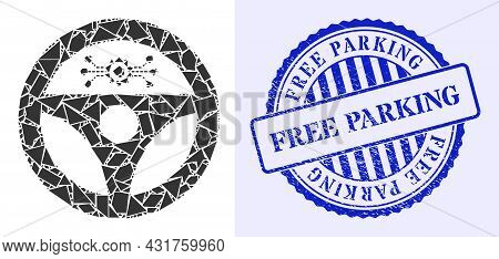 Shard Mosaic Autopilot Icon, And Blue Round Free Parking Grunge Seal With Tag Inside Round Shape. Au