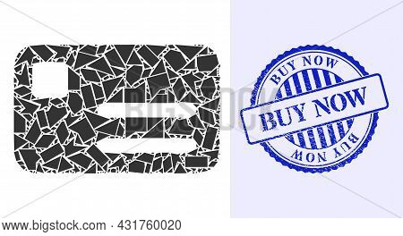 Shards Mosaic Banking Card Icon, And Blue Round Buy Now Grunge Stamp Seal With Word Inside Circle Sh