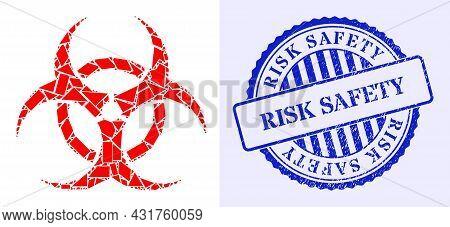 Debris Mosaic Biohazard Icon, And Blue Round Risk Safety Textured Stamp Seal With Word Inside Round