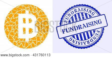 Shards Mosaic Bitcoin Coin Icon, And Blue Round Fundraising Rubber Print With Tag Inside Round Form.