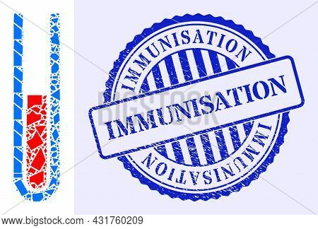 Shard Mosaic Blood Test Tube Icon, And Blue Round Immunisation Grunge Stamp With Text Inside Circle