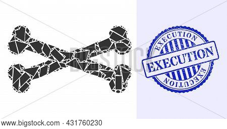 Detritus Mosaic Bones Icon, And Blue Round Execution Rubber Stamp Seal With Text Inside Round Shape.