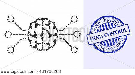 Shards Mosaic Brain Circuit Icon, And Blue Round Mind Control Rubber Stamp Seal With Tag Inside Roun
