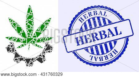 Debris Mosaic Cannabis Industry Icon, And Blue Round Herbal Grunge Stamp Imitation With Text Inside