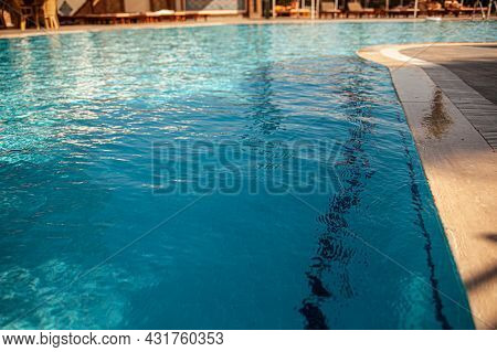 Beautiful Clear Bright Blue Water Surface In Pool