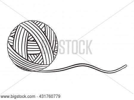 Ball Of Yarn Thread Icon. Round Clew Filament For Knitting Needles, Crochet Or Sewing. Cotton Or Woo