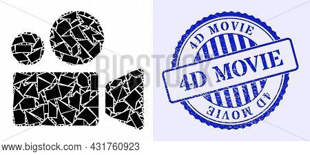 Fragment Mosaic Cinema Camera Icon, And Blue Round 4d Movie Grunge Stamp Imitation With Tag Inside R