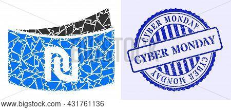 Shard Mosaic Shekel Banknote Icon, And Blue Round Cyber Monday Grunge Stamp Imitation With Caption I