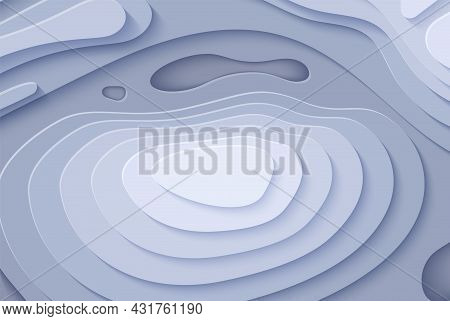 Topographic Map In Paper Cut Style. 3d Abstract Background With Cut Out Waves Modern Cover. Grey Col