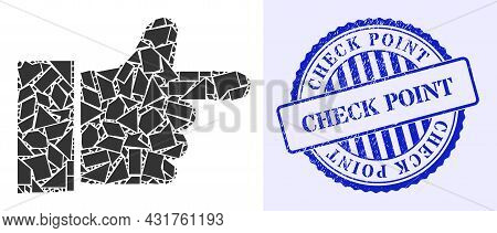 Fragment Mosaic Index Finger Icon, And Blue Round Check Point Scratched Stamp Seal With Word Inside