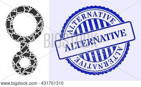 Shards Mosaic Third Gender Symbol Icon, And Blue Round Alternative Corroded Stamp Seal With Word Ins