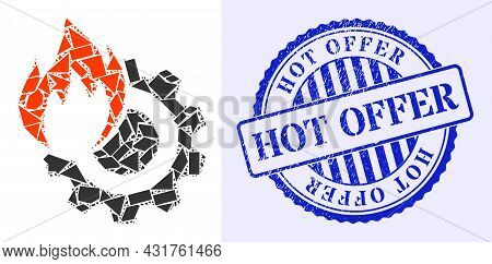 Fragment Mosaic Hot Gear Icon, And Blue Round Hot Offer Corroded Stamp With Caption Inside Round Sha