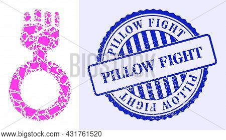 Fragment Mosaic Feminism Symbol Icon, And Blue Round Pillow Fight Dirty Stamp Imitation With Word In