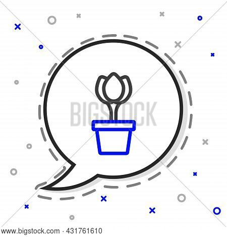 Line Flower Tulip In Pot Icon Isolated On White Background. Plant Growing In A Pot. Potted Plant Sig