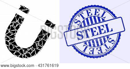 Shard Mosaic Horseshoe Magnet Icon, And Blue Round Steel Rough Stamp With Caption Inside Round Form.