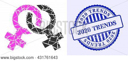 Fraction Mosaic Lesbian Symbol Icon, And Blue Round 2020 Trends Textured Stamp Seal With Tag Inside