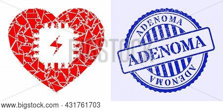 Shards Mosaic Heart Pacemaker Icon, And Blue Round Adenoma Scratched Stamp Imitation With Caption In