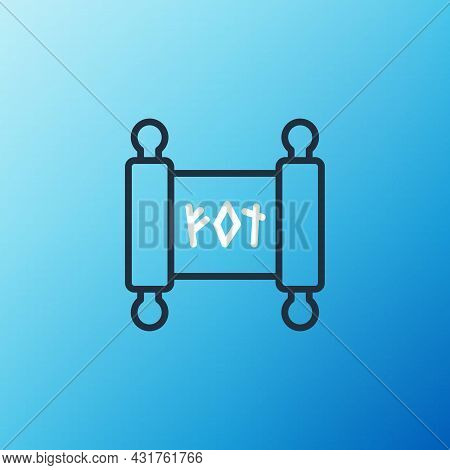 Line Magic Scroll Icon Isolated On Blue Background. Decree, Paper, Parchment, Scroll Icon. Colorful