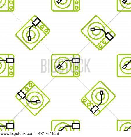Line Vinyl Player With A Vinyl Disk Icon Isolated Seamless Pattern On White Background. Vector