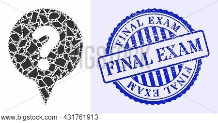 Debris Mosaic Question Banner Icon, And Blue Round Final Exam Dirty Stamp Seal With Word Inside Roun