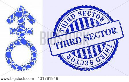 Shatter Mosaic Third Gender Symbol Icon, And Blue Round Third Sector Grunge Stamp Print With Word In