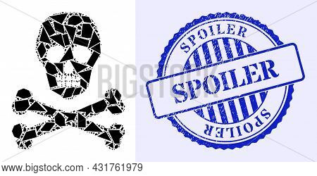 Debris Mosaic Death Skull Icon, And Blue Round Spoiler Corroded Stamp Seal With Tag Inside Round Sha