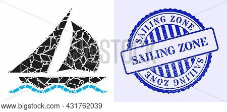 Detritus Mosaic Sailing Icon, And Blue Round Sailing Zone Unclean Stamp Seal With Tag Inside Round F