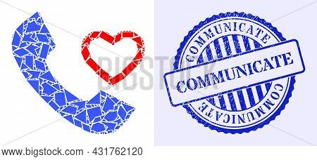 Debris Mosaic Love Phone Receiver Icon, And Blue Round Communicate Textured Stamp Seal With Caption