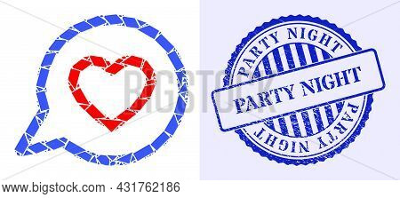 Debris Mosaic Romantic Heart Message Icon, And Blue Round Party Night Corroded Seal With Word Inside