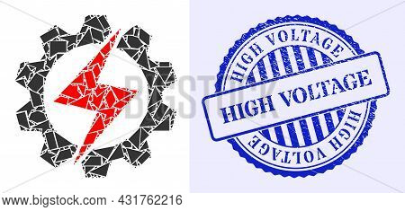 Detritus Mosaic Energy Industry Icon, And Blue Round High Voltage Unclean Stamp Seal With Caption In