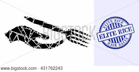 Debris Mosaic Dining Etiquette Icon, And Blue Round Elite Rice Unclean Stamp Seal With Tag Inside Ro