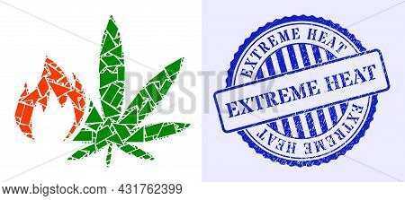 Debris Mosaic Hot Cannabis Icon, And Blue Round Extreme Heat Rough Watermark With Tag Inside Round F