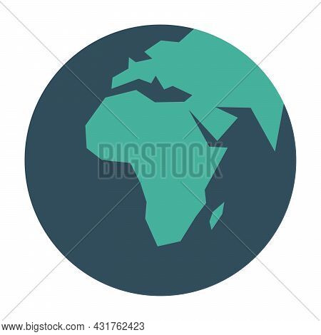 Simplified Earth Globe With Map Of World Focused On Africa. Vector Illustration.