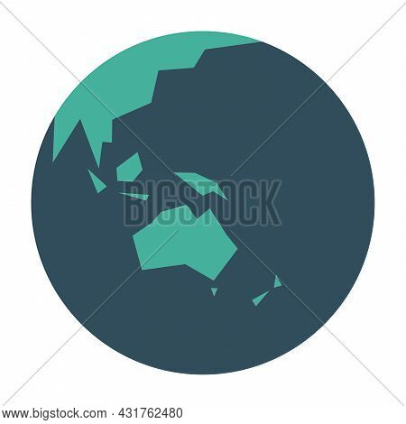 Simplified Earth Globe With Map Of World Focused On Australia And Oceania. Vector Illustration.