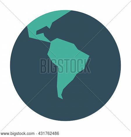 Simplified Earth Globe With Map Of World Focused On South America. Vector Illustration.