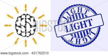 Shards Mosaic Mind Light Icon, And Blue Round Light Rubber Stamp Seal With Text Inside Round Shape.