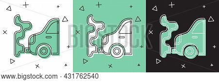 Set Car Exhaust Icon Isolated On White And Green, Black Background. Vector