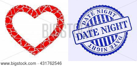 Debris Mosaic Romantic Heart Icon, And Blue Round Date Night Rough Seal With Tag Inside Round Form.