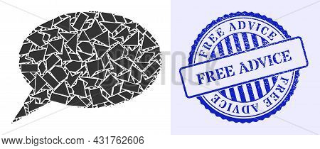 Fraction Mosaic Forum Message Icon, And Blue Round Free Advice Grunge Stamp Seal With Caption Inside