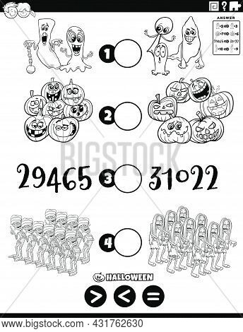 Black And White Cartoon Illustration Of Educational Mathematical Puzzle Game Of Greater Than, Less T