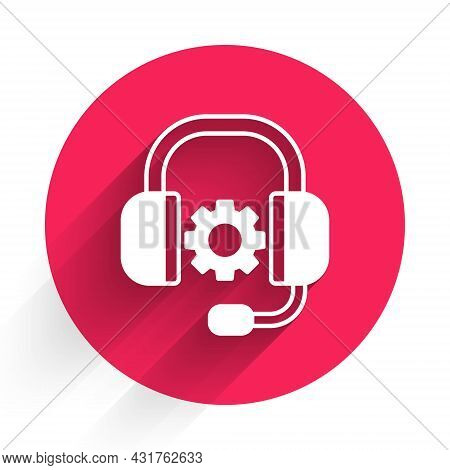 White Headphones Icon Isolated With Long Shadow. Support Customer Service, Hotline, Call Center, Faq