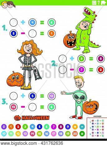 Cartoon Illustration Of Educational Mathematical Addition And Subtraction Puzzle Task With Kids Char