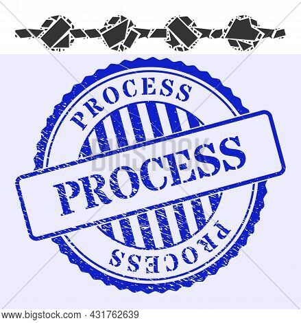 Spall Mosaic Connected Dots Line Icon, And Blue Round Process Rubber Stamp Imitation With Caption In