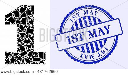 Detritus Mosaic Digit One Icon, And Blue Round 1st May Dirty Stamp Seal With Word Inside Round Shape