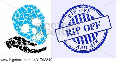 Spall Mosaic Hand Holds Skull Icon, And Blue Round Rip Off Dirty Stamp With Tag Inside Round Form. H