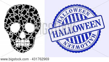 Fragment Mosaic Skull Icon, And Blue Round Halloween Rough Stamp Print With Tag Inside Round Shape.