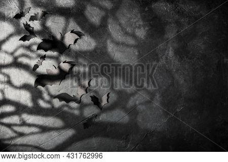 halloween and decoration concept - black paper bats, moonlight and scary trees shadows background