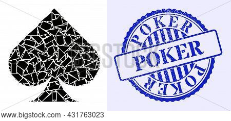 Shard Mosaic Playing Card Spade Suit Icon, And Blue Round Poker Grunge Stamp Seal With Tag Inside Ro